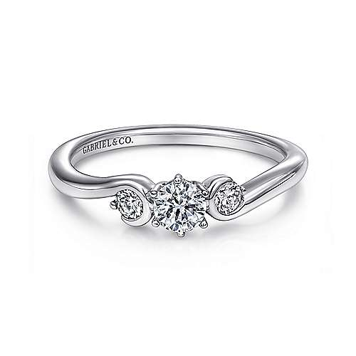 Meadow 14k White Gold Round 3 Stones Engagement Ring angle 1