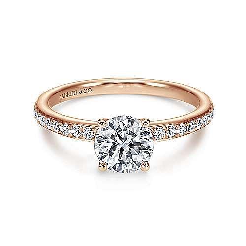Gabriel - Megan 14k Rose Gold Round Straight Engagement Ring