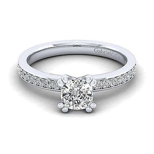 Gabriel - Megan 14k White Gold Cushion Cut Straight Engagement Ring