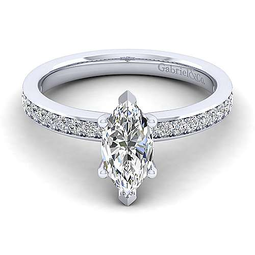 Gabriel - Megan 14k White Gold Marquise  Straight Engagement Ring