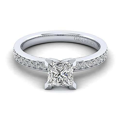 Gabriel - Megan 14k White Gold Princess Cut Straight Engagement Ring