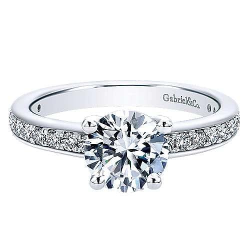 Gabriel - Megan 14k White Gold Round Straight Engagement Ring