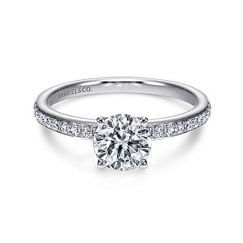 Megan 14k White Gold Round Straight Engagement Ring angle 1