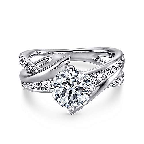 Gabriel - Melika 14k White Gold Round Bypass Engagement Ring