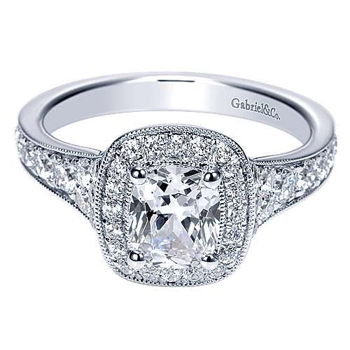 Gabriel - Melinda 14k White Gold Cushion Cut Halo Engagement Ring