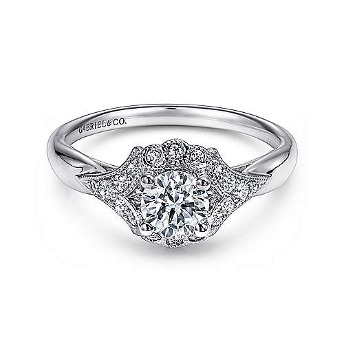 Gabriel - Melo 14k White Gold Round Halo Engagement Ring