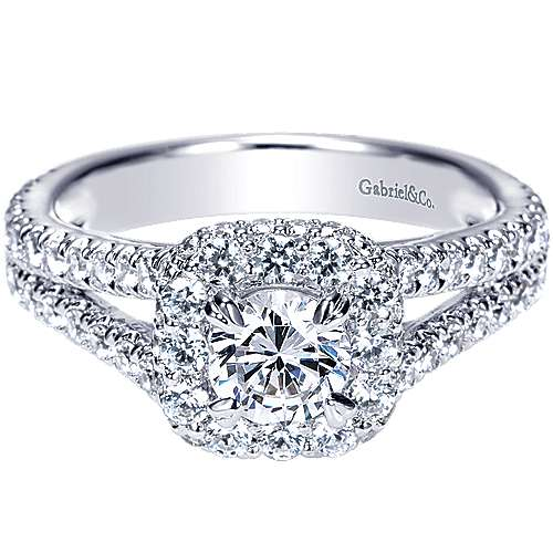 Gabriel - Mercury 14k White Gold Round Halo Engagement Ring