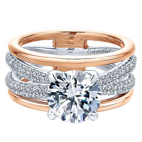 Gabriel - Merliah 18k White And Rose Gold Round Split Shank Engagement Ring