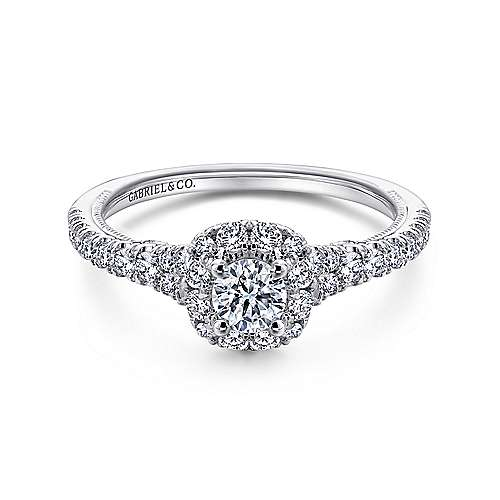 Gabriel - Merrick 14k White Gold Round Halo Engagement Ring
