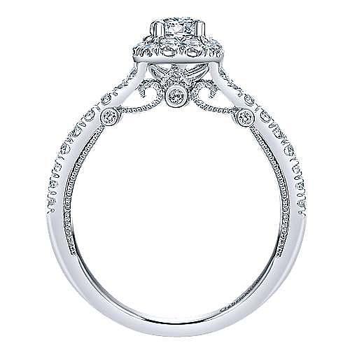 Merrick 14k White Gold Round Halo Engagement Ring angle 2
