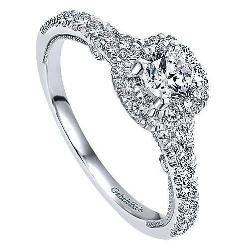 Merrick 14k White Gold Round Halo Engagement Ring angle 3