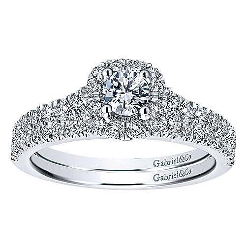Merrick 14k White Gold Round Halo Engagement Ring angle 4