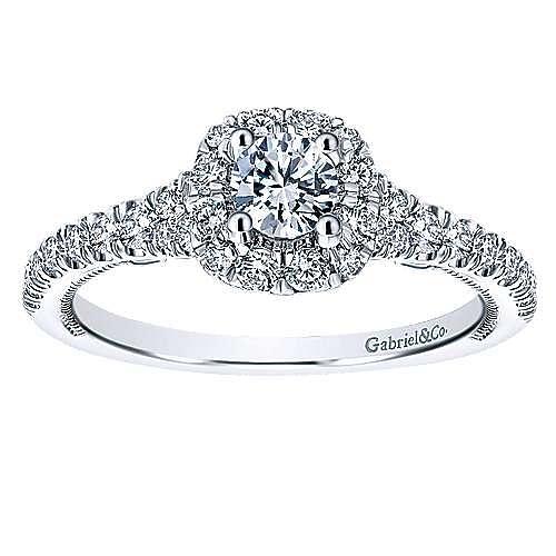 Merrick 14k White Gold Round Halo Engagement Ring angle 5