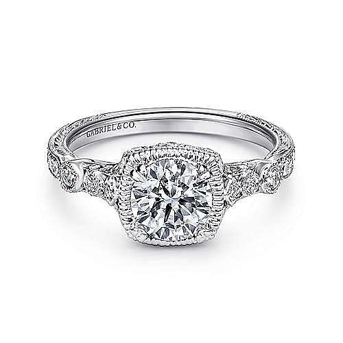 Metropolitan Platinum Round Straight Engagement Ring angle 1