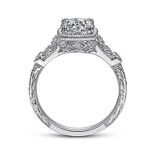 Metropolitan Platinum Round Straight Engagement Ring angle 2