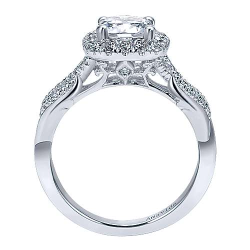 Micah 18k White Gold Round Halo Engagement Ring angle 2