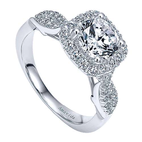 Micah 18k White Gold Round Halo Engagement Ring angle 3