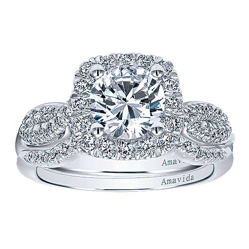 Micah 18k White Gold Round Halo Engagement Ring angle 4
