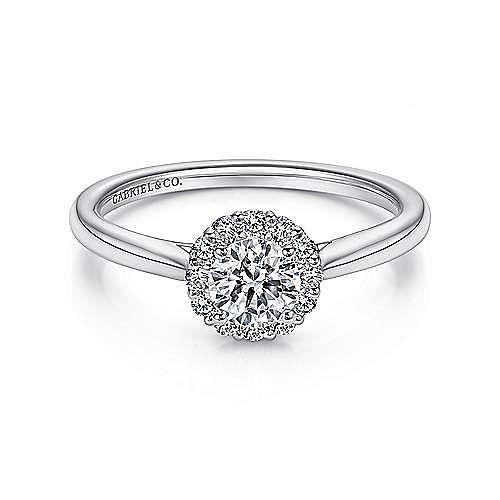 Michaela 14k White Gold Round Halo Engagement Ring angle 1