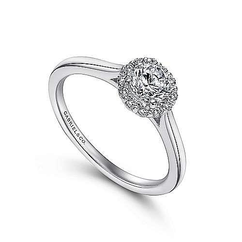 Michaela 14k White Gold Round Halo Engagement Ring angle 3