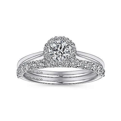 Michaela 14k White Gold Round Halo Engagement Ring angle 4