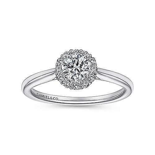 Michaela 14k White Gold Round Halo Engagement Ring angle 5