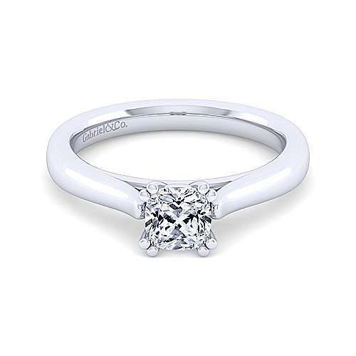 Gabriel - Michelle 14k White Gold Cushion Cut Solitaire Engagement Ring