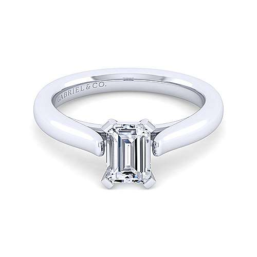 Michelle 14k White Gold Emerald Cut Solitaire Engagement Ring angle 1