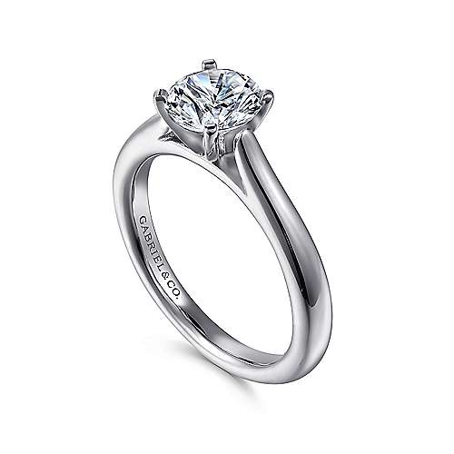 Michelle 14k White Gold Round Solitaire Engagement Ring angle 3