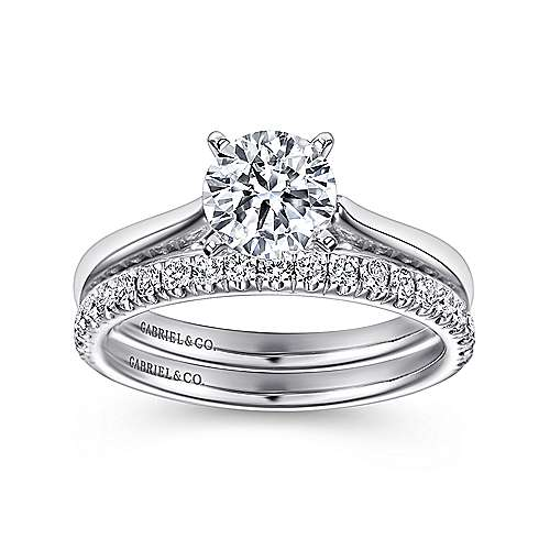 Michelle 14k White Gold Round Solitaire Engagement Ring angle 4