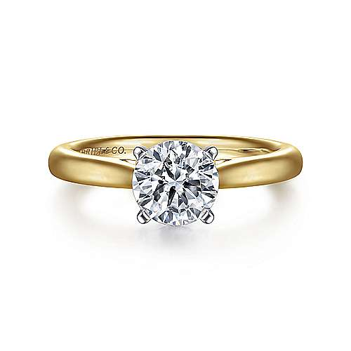 Gabriel - Michelle 14k Yellow And White Gold Round Solitaire Engagement Ring