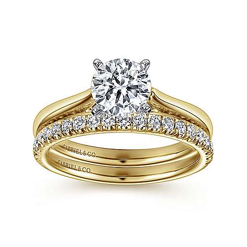 Michelle 14k Yellow And White Gold Round Solitaire Engagement Ring angle 4