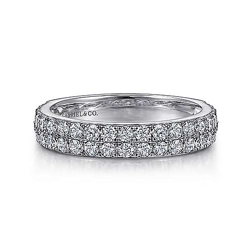 Gabriel - Micro Pave Classic Diamond Ring in 14K White Gold