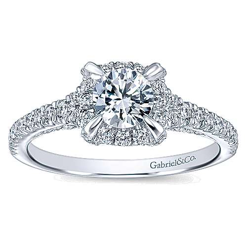 Midnight 14k White Gold Round Halo Engagement Ring angle 5