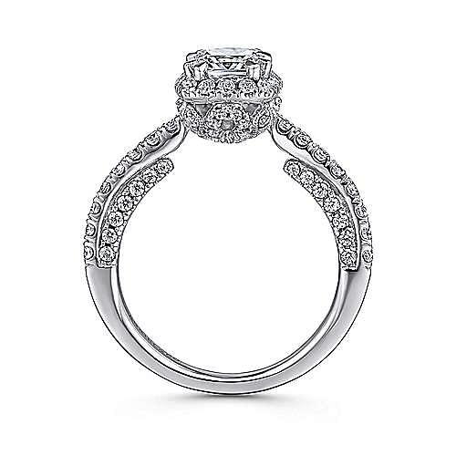 Milan 14k White Gold Cushion Cut Halo Engagement Ring angle 2