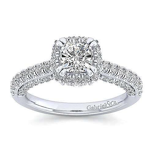 Milan 14k White Gold Cushion Cut Halo Engagement Ring angle 5