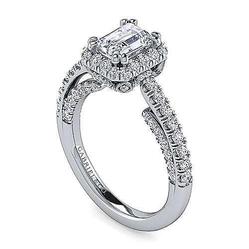 Milan 14k White Gold Emerald Cut Halo Engagement Ring