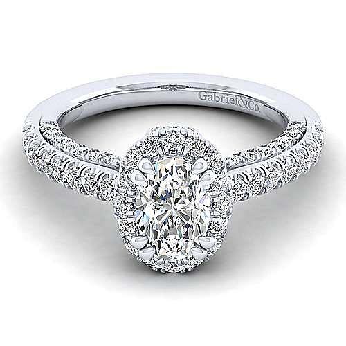 Gabriel - Milan 14k White Gold Oval Halo Engagement Ring