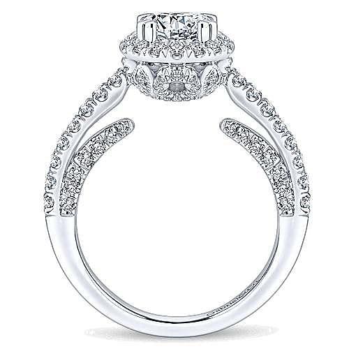 Milan 14k White Gold Round Halo Engagement Ring