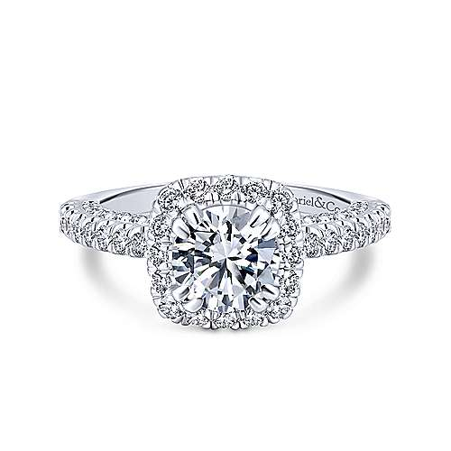 Milan 14k White Gold Round Halo Engagement Ring angle 1