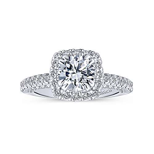 Milan 14k White Gold Round Halo Engagement Ring angle 5