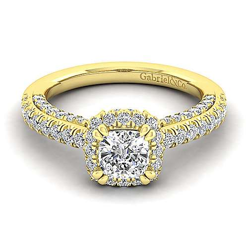 Milan 14k Yellow Gold Cushion Cut Halo Engagement Ring angle 1