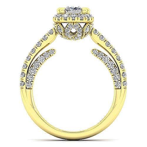Milan 14k Yellow Gold Cushion Cut Halo Engagement Ring angle 2