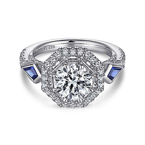 Gabriel - Mildred 18k White Gold Round 3 Stones Halo Engagement Ring