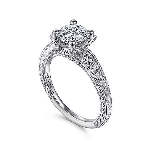 Millie 14k White Gold Round Straight Engagement Ring angle 3