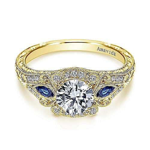 Gabriel - Mimi 18k Yellow Gold Round Halo Engagement Ring