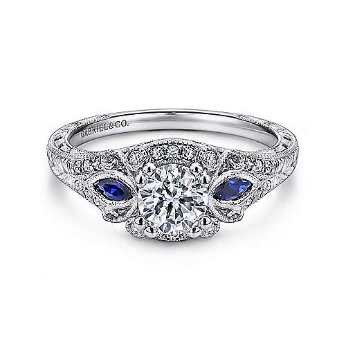 Gabriel - Mimi Platinum Round Halo Engagement Ring