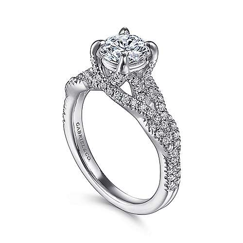 Mindy 14k White Gold Round Twisted Engagement Ring