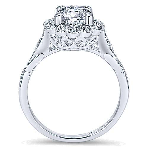 Minnie 14k White Gold Round Halo Engagement Ring angle 2