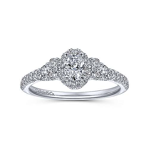 Mirabella 14k White Gold Oval Halo Engagement Ring angle 5